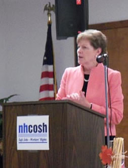Senator Jeanne Shaheen stopped by to congratulate NH COSH on its 21st year in its continued work in educating workers in job safety and health issues.