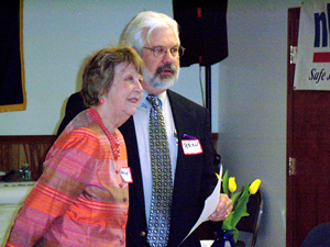 Marthe Kent with NH COSH Director Brian Mitchell.